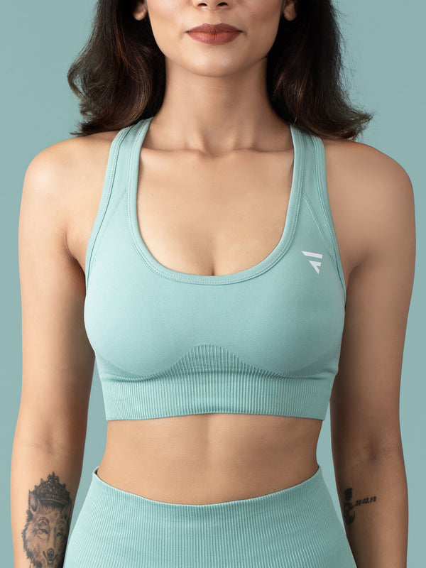 Revival Seamless Sports Bra - Glacial Green - FLEXCHAMPS INDIA