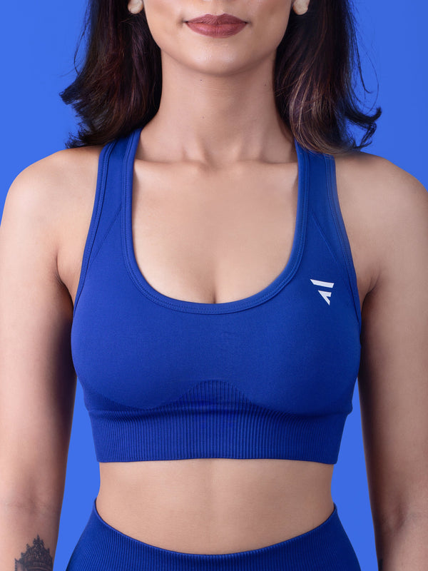 Revival Seamless Sports Bra - Azure Blue - FLEXCHAMPS INDIA