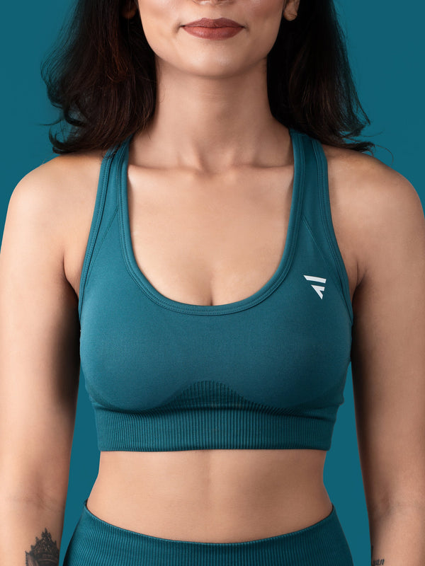 Revival Seamless Sports Bra - Forest Green - FLEXCHAMPS INDIA