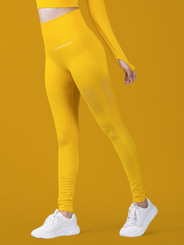 Motus Seamless Leggings - Yellow - FLEXCHAMPS INDIA