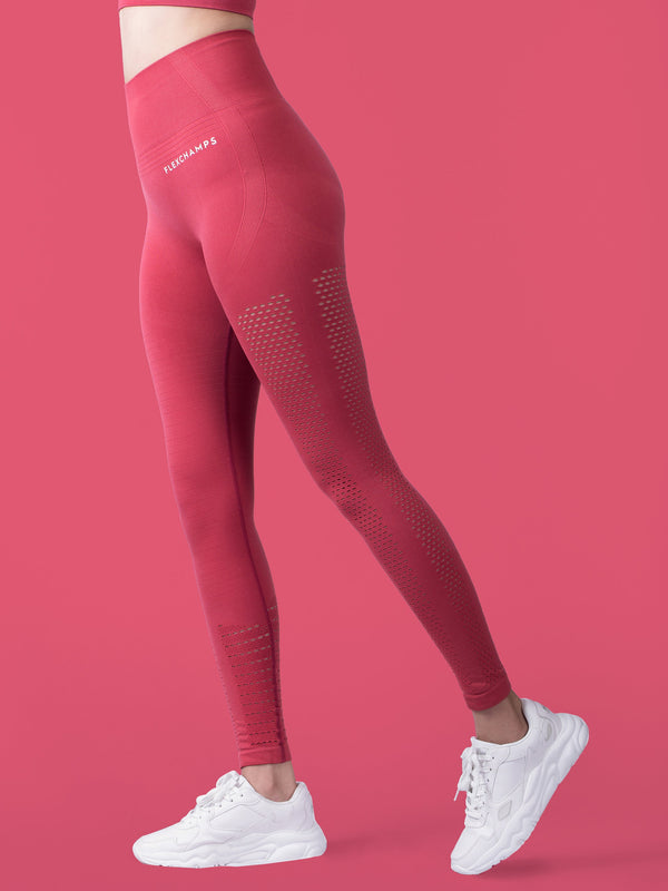 Motus Seamless Leggings - Rose - FLEXCHAMPS INDIA