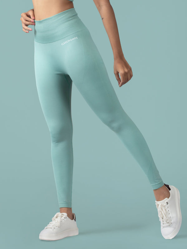 Revival Seamless Leggings - Glacial Green - FLEXCHAMPS INDIA