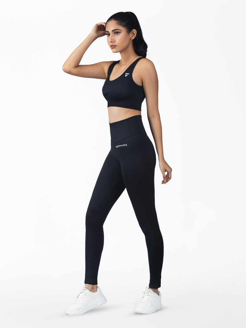 RIBBED SEAMLESS BRA - Black - FLEXCHAMPS INDIA
