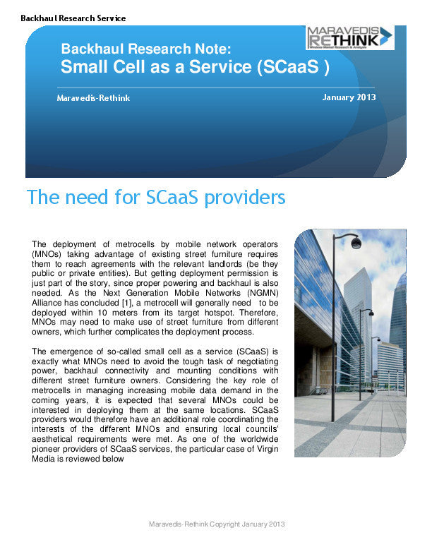 Backhaul Research Note: Small cell as a service (SCaaS)