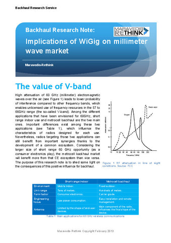 Backhaul Research Note: Implications of WiGig on Millimeter Wave Market