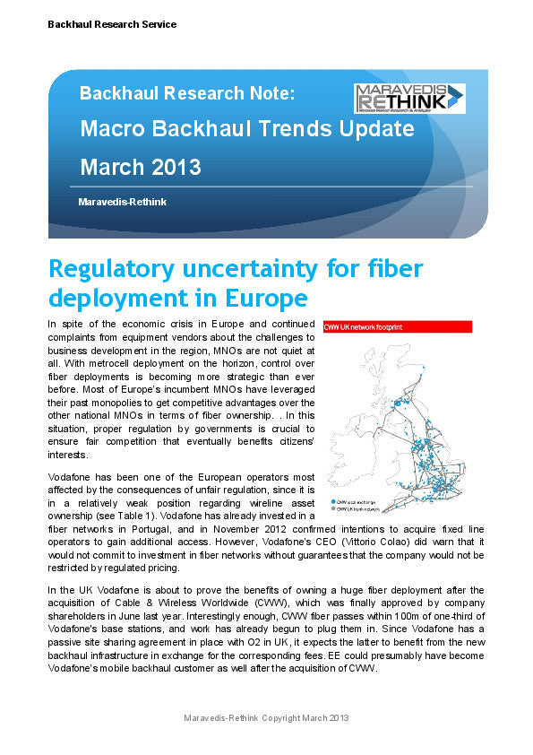 Backhaul Research Note: Macro Backhaul Trends Update