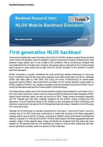 Backhaul Research Note: NLOS Mobile Backhaul Evolution