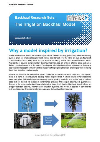 Backhaul Research Note:The Irrigation Backhaul Model