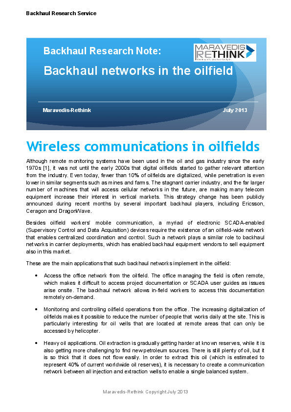 Backhaul Research Note: Backhaul networks in the oilfield