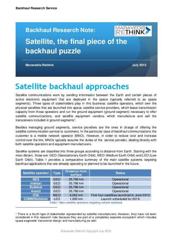 Backhaul Research Note: Satellite for Cellular Backhaul Applications