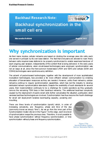 Backhaul Research Note: Backhaul synchronization in the small cell era