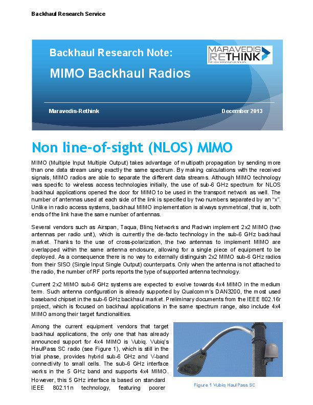 Backhaul Research Note: MIMO Backhaul Radios