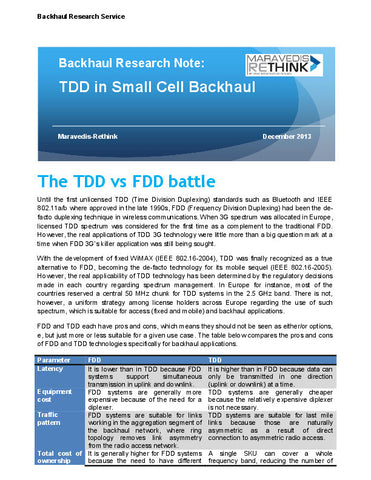 Backhaul Research Note:TDD in Small Cell Backhaul
