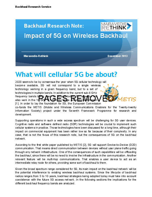 Backhaul Research Note: Impact of 5G on Wireless Backhaul