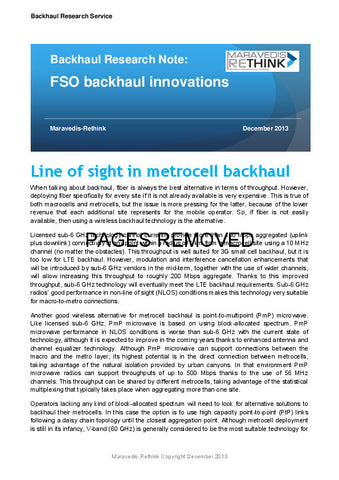 Backhaul Research Note: FSO backhaul innovations
