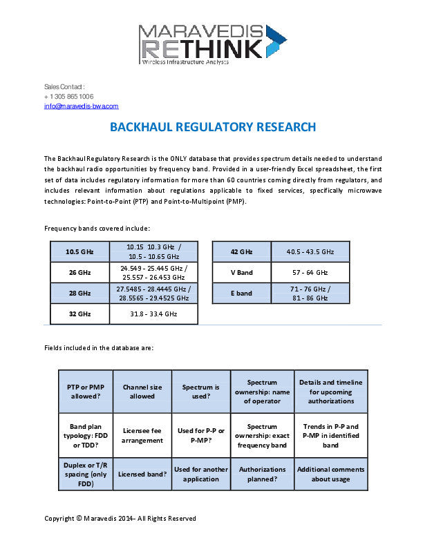 Backhaul Regulatory Database
