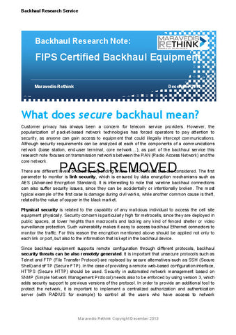 Backhaul Research Note: FIPS Certified Backhaul Equipment