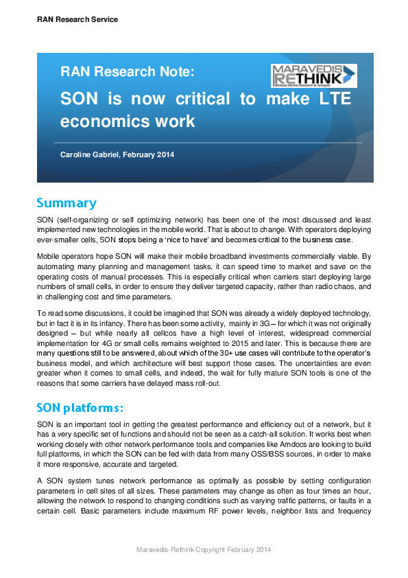 RAN Research Note: SON is now critical to make LTE economics work