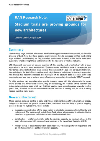 RAN Research Note: Stadium trials are proving grounds for new architectures