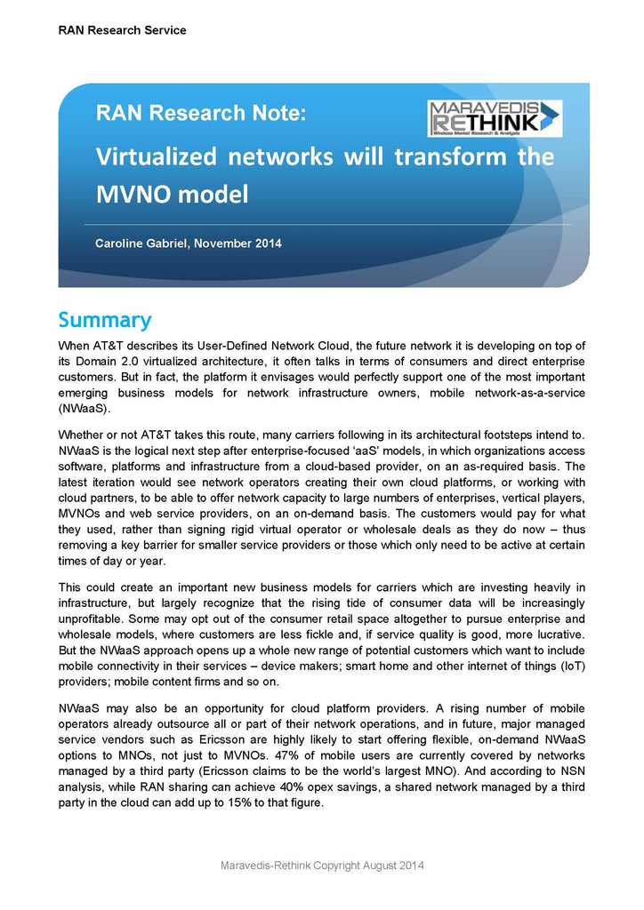 RAN Research Note: Virtualized networks will transform the MVNO model