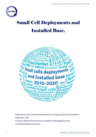 Small cells deployments and installed base 2015-2020