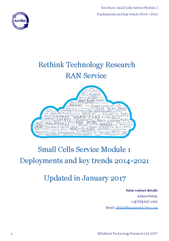 Small Cells Service Module 1 Deployments and key trends 2016-2021