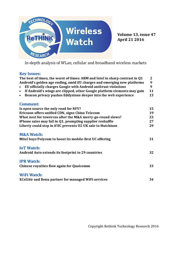 Wireless Watch 635:  Intel and ARM, contrasting fortunes