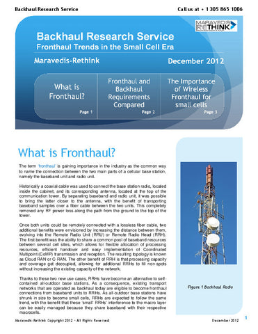 Backhaul Research Note: Fronthaul trends in the small cell era