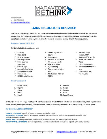 LMDS Regulatory Database