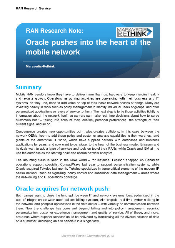 RAN Research Note: Oracle pushes into the heart of the mobile network