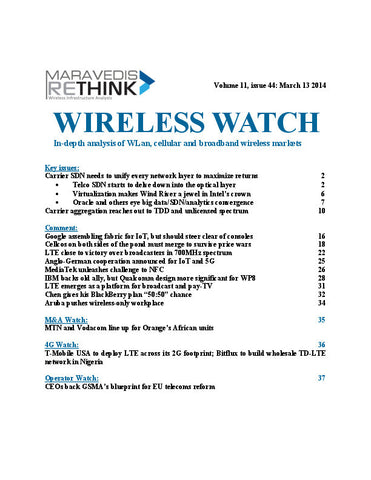 Wireless Watch 535:  SDN reaches to all layers of the carrier network