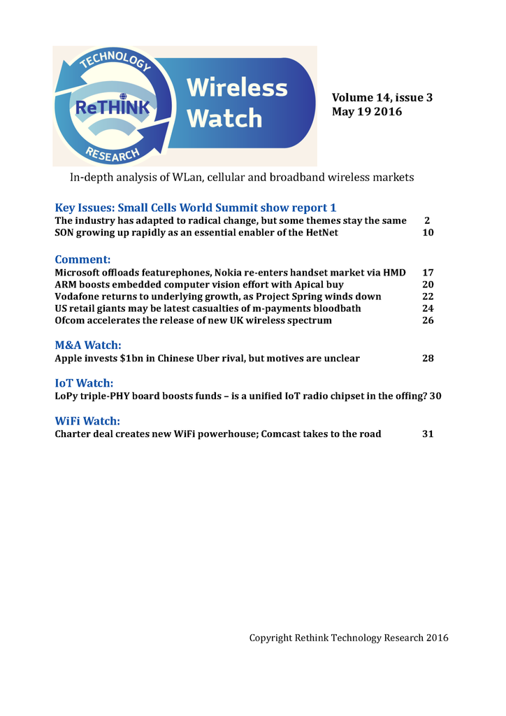 Wireless Watch 639:Small Cells World Summit report part 1