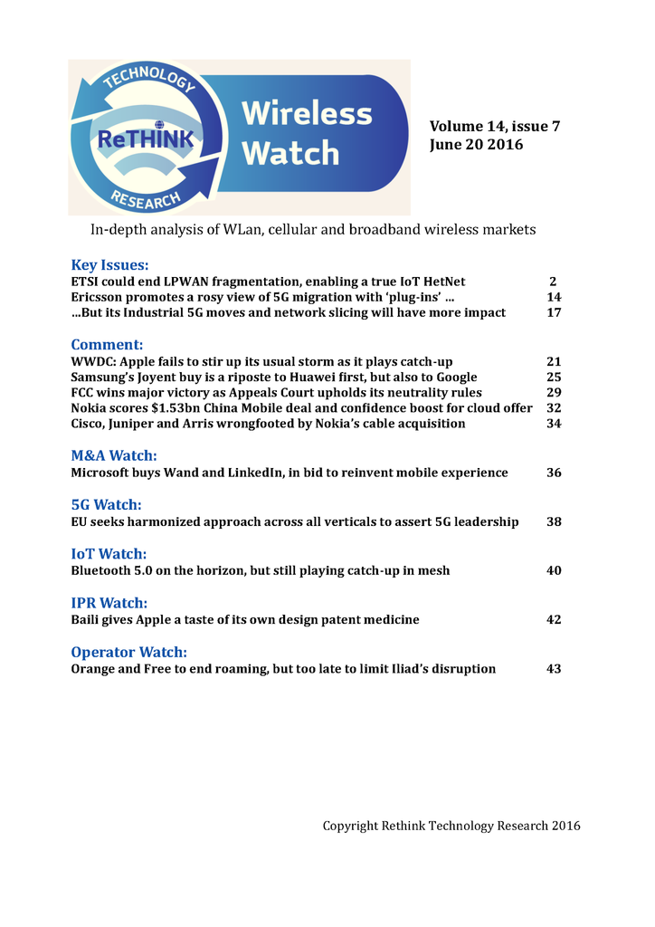 Wireless Watch 643 June 20: ETSI's chance to shape IoT