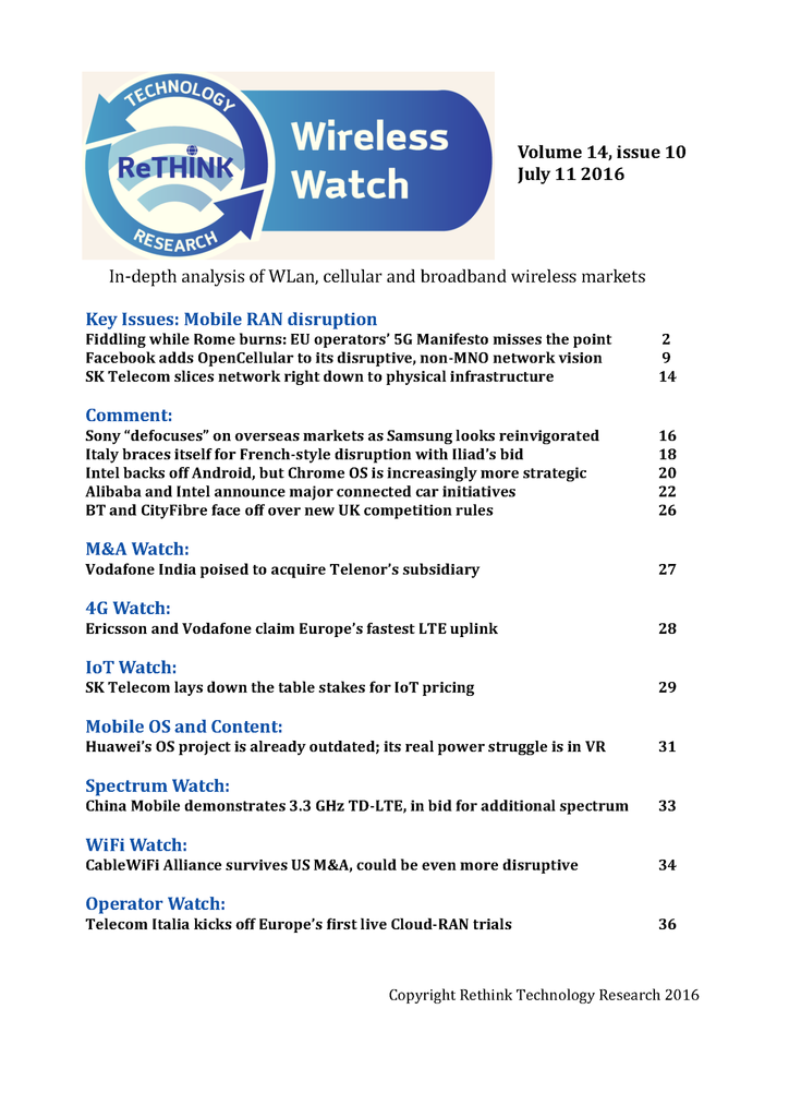 Wireless Watch 646 July 11 2016: RAN disruption