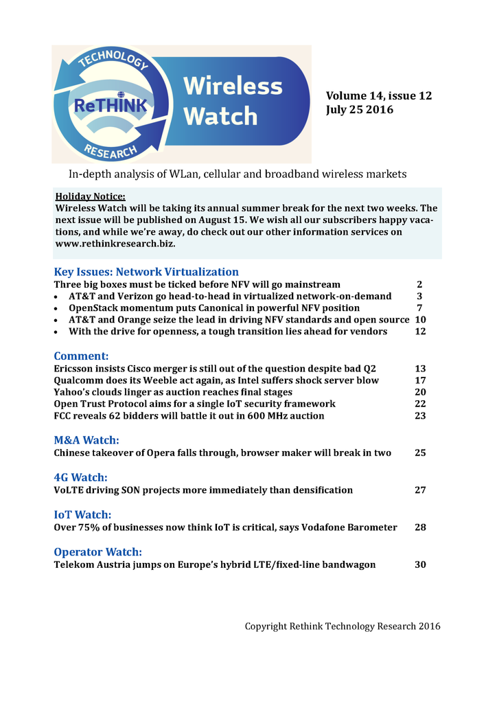 Wireless Watch 648 July 25: Three big boxes must be ticked before NFV will go mainstream