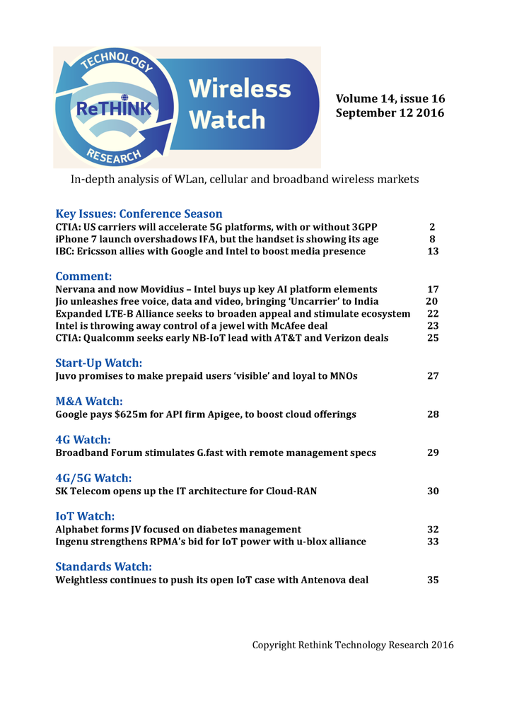 Wireless Watch 653 September 12: News from IBC and CTIA