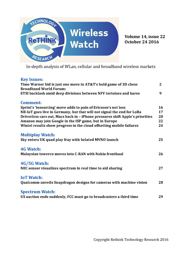 Wireless Watch 659 October 24: AT&T to buy Time Warner