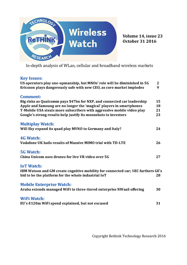 Wireless Watch 660 October 31: Will MNOs still rule in 5G?