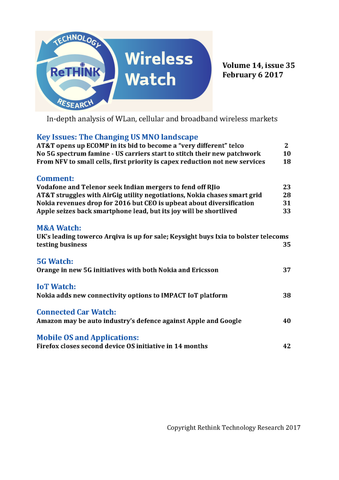 Wireless Watch 672 February 6: The changing US MNO landscape