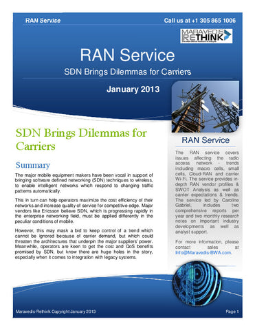 RAN Research Note: SDN brings dilemmas for carriers