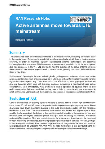 RAN Research Note: Active antennas move towards LTE mainstream