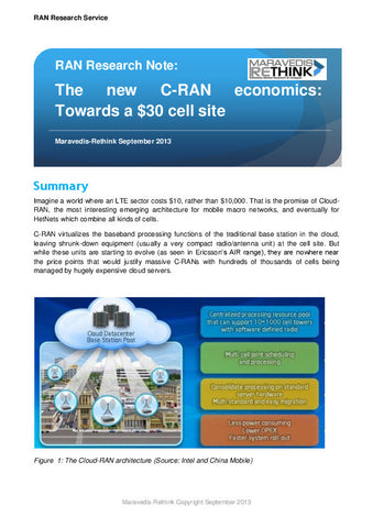 RAN Research Note: The new C-RAN economics: Towards a $30 cell site