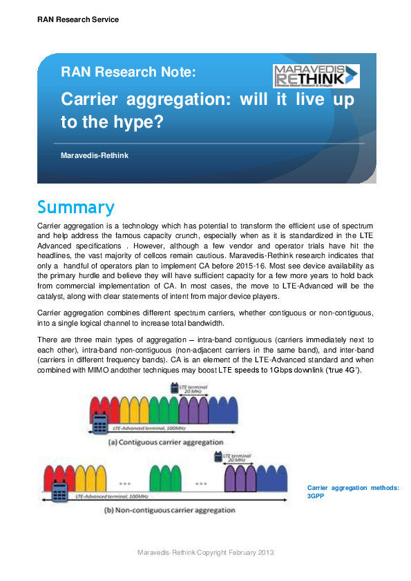 RAN Research Note: Carrier Aggregation