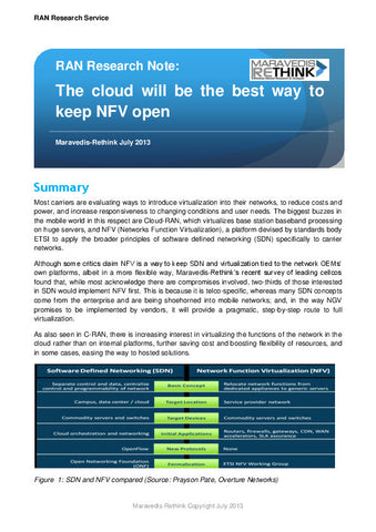 RAN Research Note: The cloud will be the best way to keep NFV open