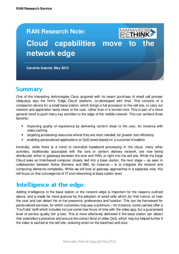RAN Research Note: Cloud capabilities move to the network edge