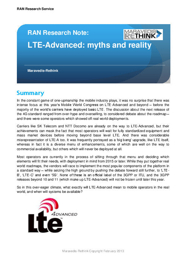 RAN Research Note: LTE-Advanced: myths and reality