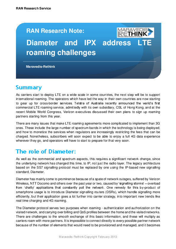 RAN Research Note: Diameter and IPX address LTE roaming challenges