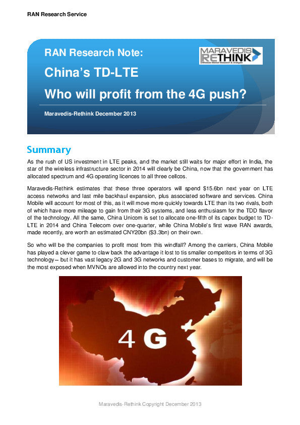 RAN Research Note: China's TD-LTE Who will profit from the 4G push?