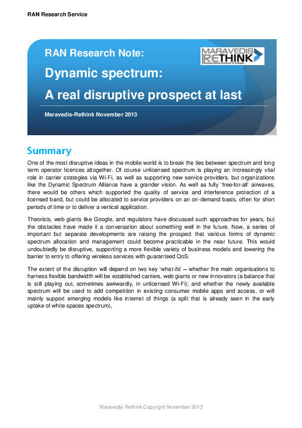 RAN Research Note: Dynamic spectrum: A real disruptive prospect at last