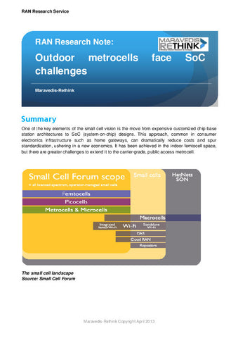 RAN Research Note: Outdoor metrocells face SoC challenges